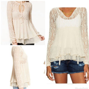 Free People Angel Days Open Knit Pullover Top Sm